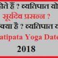 Vyatipata Yoga   व्यतिपात योग शुभाशुभ विचार 2018