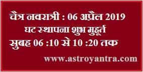 Navratri 2019   चैत्र नवरात्री 2019 कलश स्थापना और पूजा का समय